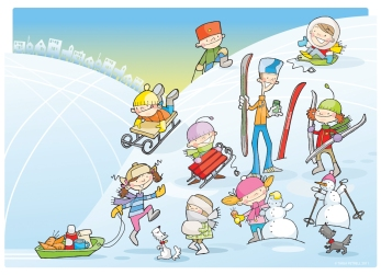 Suburbian kids - skiing. Personal work, unpublished.