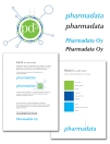 Identity and logo for Pharmadata Oy and their leading pharmacy software pd3. 2008.